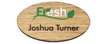 Printed wooden name badges - Real wood name badge with printed logo and text | www.namebadgesinternational.ie